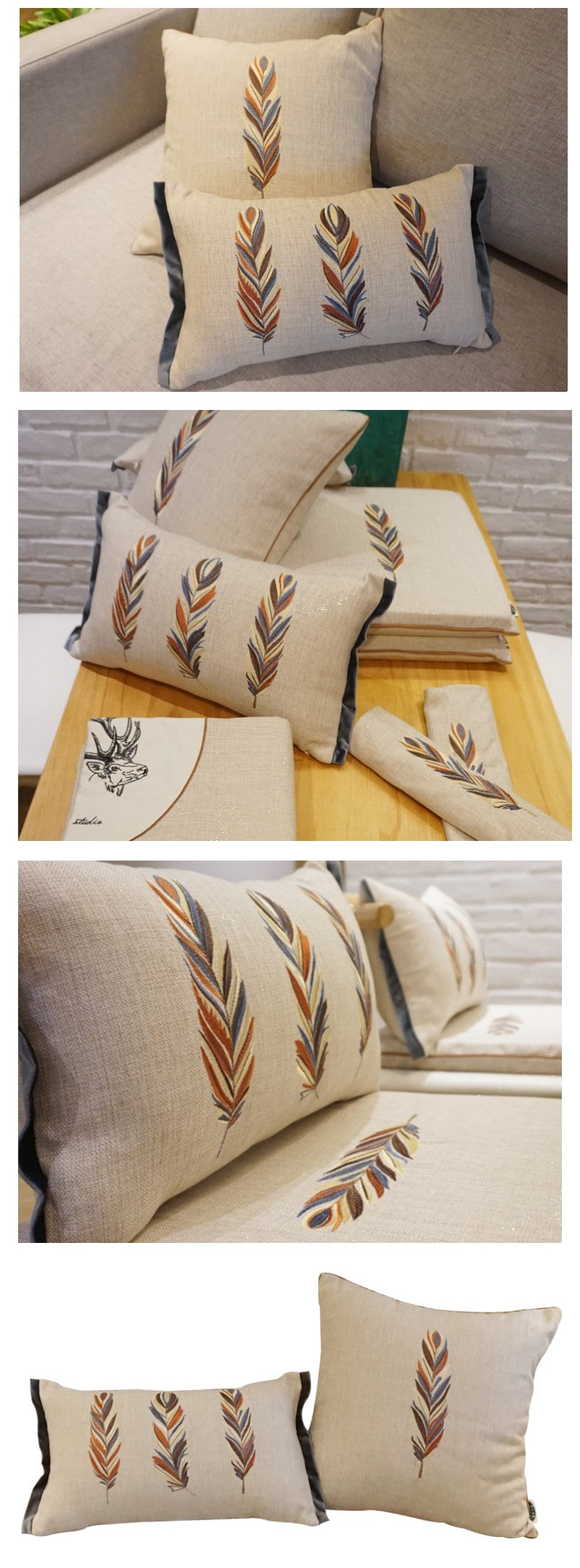 Embroider Feather Cotton and linen Pillow Cover, Decorative Throw Pillow, Sofa Pillows, Home Decor