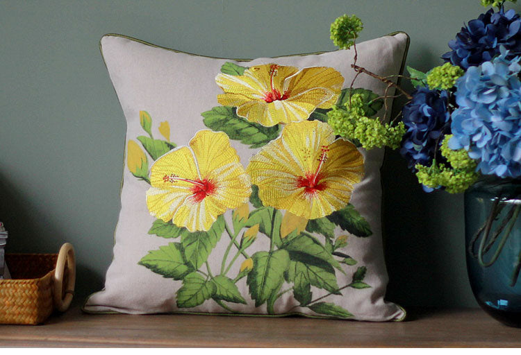 Embroider Morning Glory Flower Cotton and linen Pillow Cover, Decorative Throw Pillow