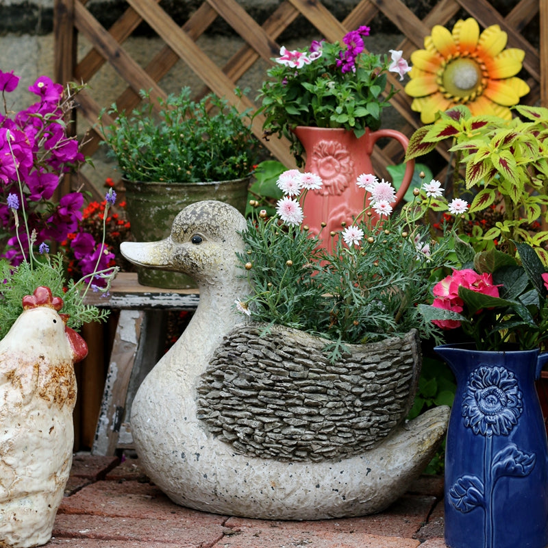 Large Duck Statue, Duck Flower Pot, Animal Statue for Garden Courtyard Decoration
