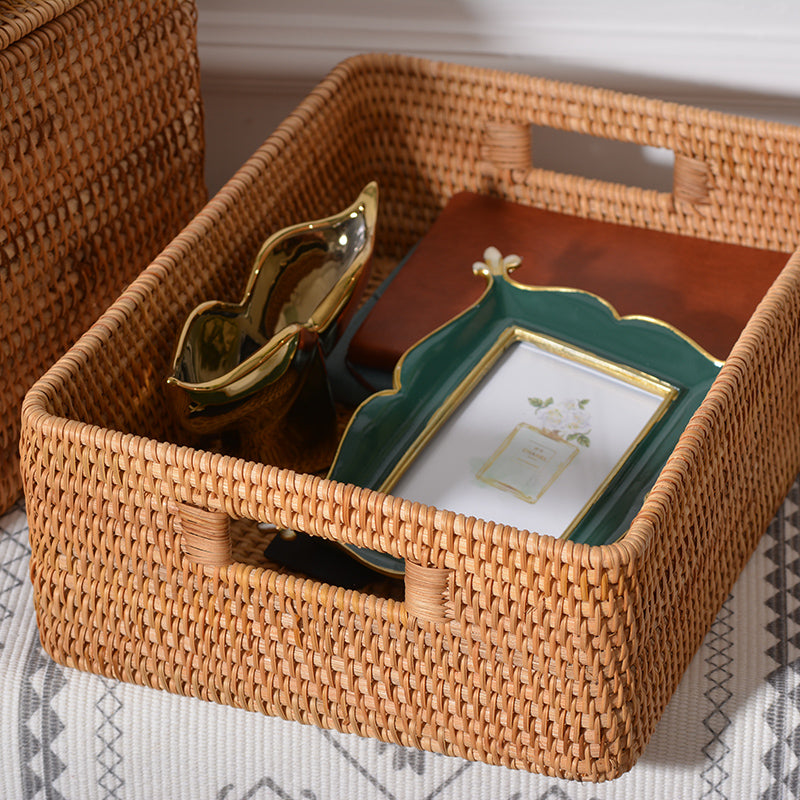 Beautiful Handmade Rectangular Basket with Lip, Rattan Storage Basket with Handle, Storage Baskets for Kitchen and Bedroom