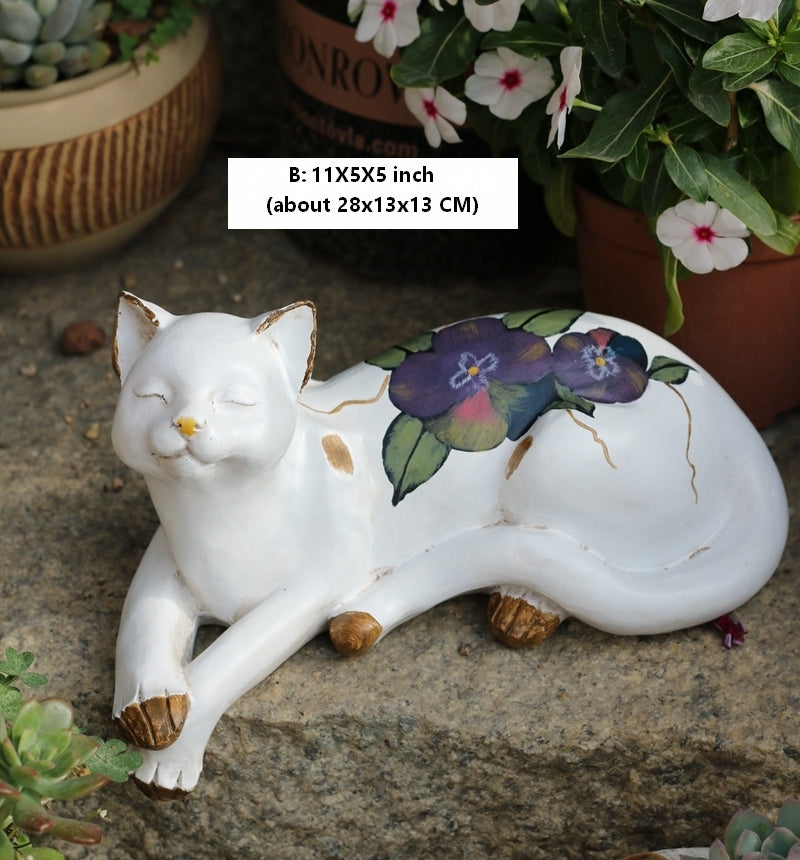 Lovely Cat Statues, Sleeping Cats Resin Statues, Garden Courtyard Decoration