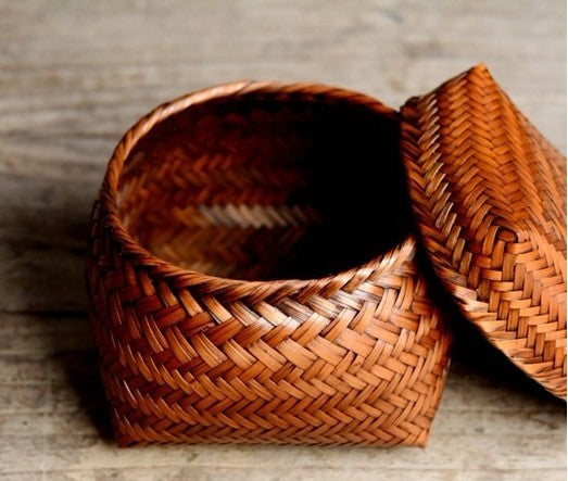 Bamboo Basket with Cover, Rustic Basket, Hand Woven Snap Basket
