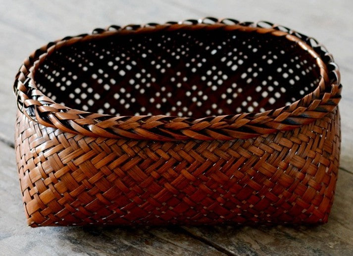 Bamboo Basket, Rustic Hand Woven Snap Basket, Round Woven Basket