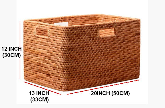 Large Hand Woven Storage Basket with Handle, Large Woven Vietnam Basket