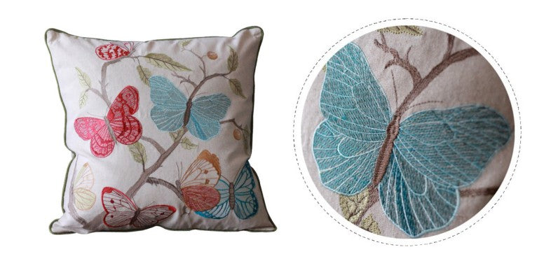 Embroider Butterfly Cotton and linen Pillow Cover, Decorative Throw Pillow