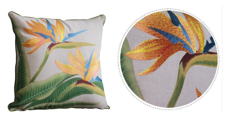 Embroider Strelitzia reginae Aiton Flower Cotton and linen Pillow Cover