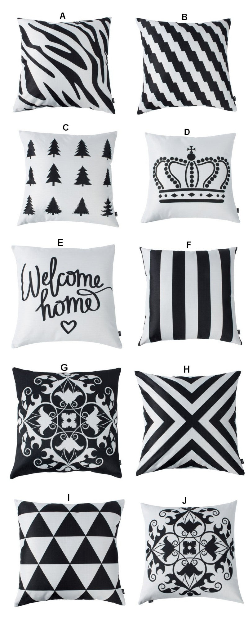 Black and White Cotton and linen Pillow Cover, Decorative Throw Pillow, Sofa Pillows