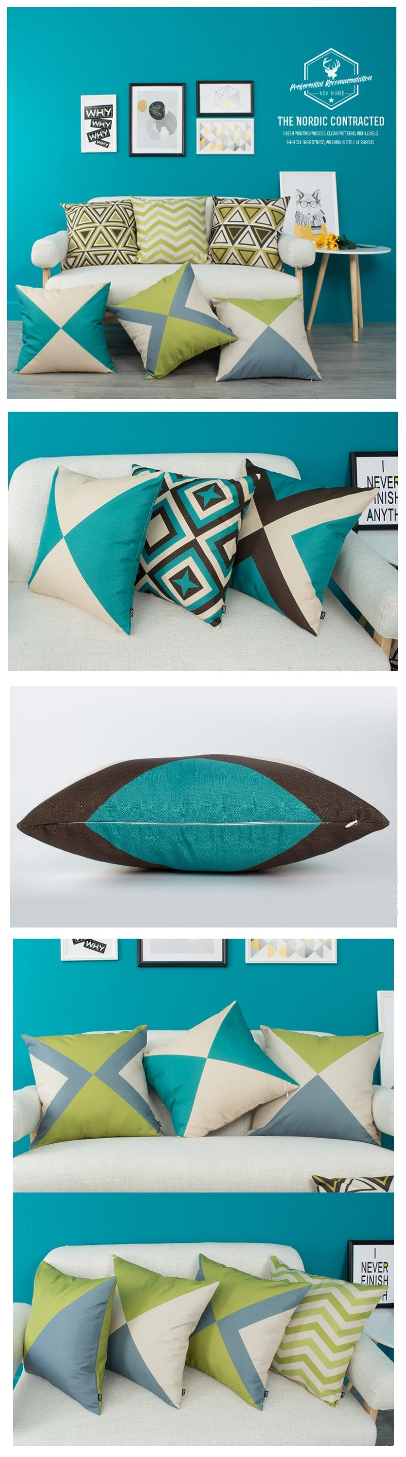 Geometric Design Cotton and linen Pillow Cover, Decorative Throw Pillow