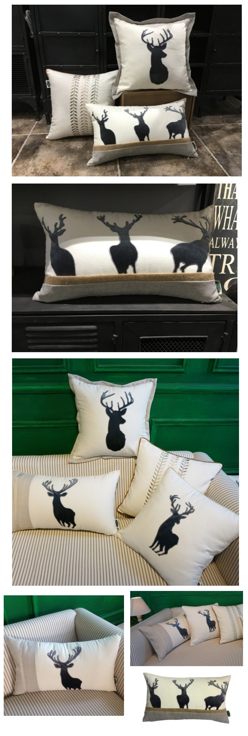 Embroider Elk Cotton Pillow Cover, Decorative Throw Pillow, Sofa Pillows, Home Decor