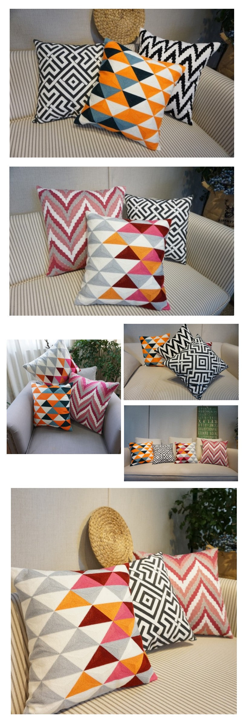 Decorative Cotton Throw Pillow, Cotton Pillow Cover, Sofa Pillows, Home Decoration