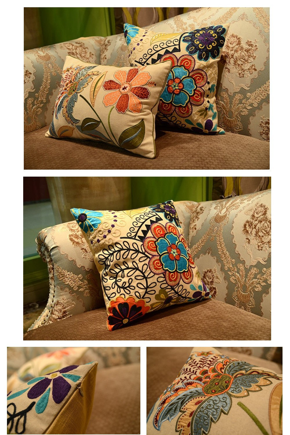 Flower Cotton and linen Embroider Pillow Cover, Decorative Throw Pillow, Sofa Pillows