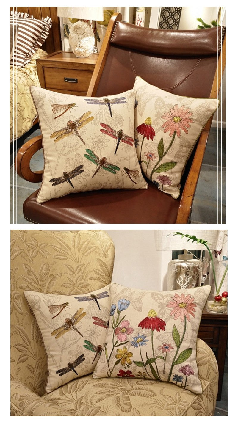 Dragon Flower and Flower Cotton and linen Pillow Cover, Embroider Decorative Throw Pillow, Sofa Pillows, Home Decoration