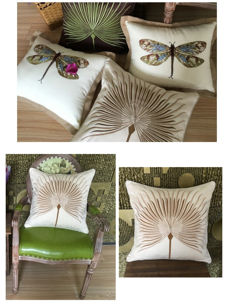 Cotton and linen Pillow Cover, Embroider Decorative Throw Pillow, Sofa Pillows, Home Decoration