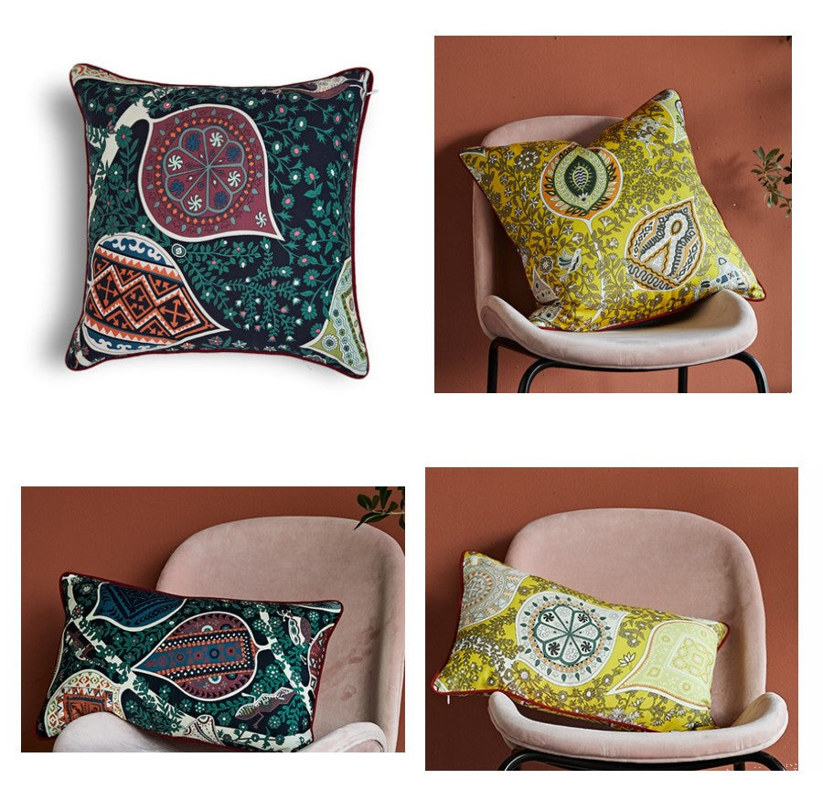Leaves Pattern Cotton Pillow Cover, Home Decorative Throw Pillow, Sofa Pillows, Home Decoration
