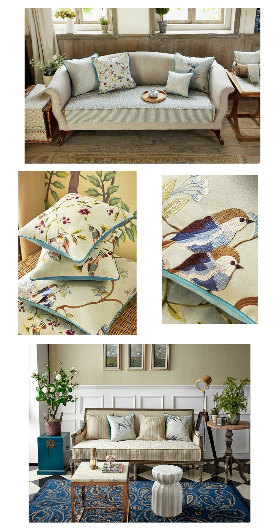 Bird and Flower Tree Pillow Cover, Home Decorative Throw Pillow, Blue Sofa Pillows