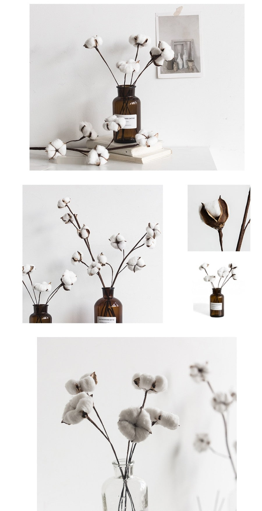 A Bunch of Cotton Flower, Rustic Atificial Flowers, Cotton Stems, Cotton Stalks