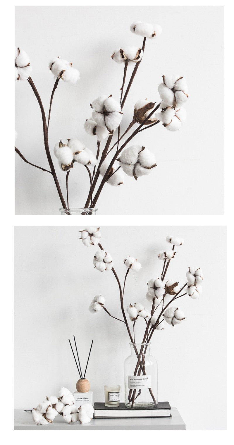 Cotton Flower Stalks, Rustic Atificial Flowers, Cotton Stems, Cotton Stalks, Flower Arrangement