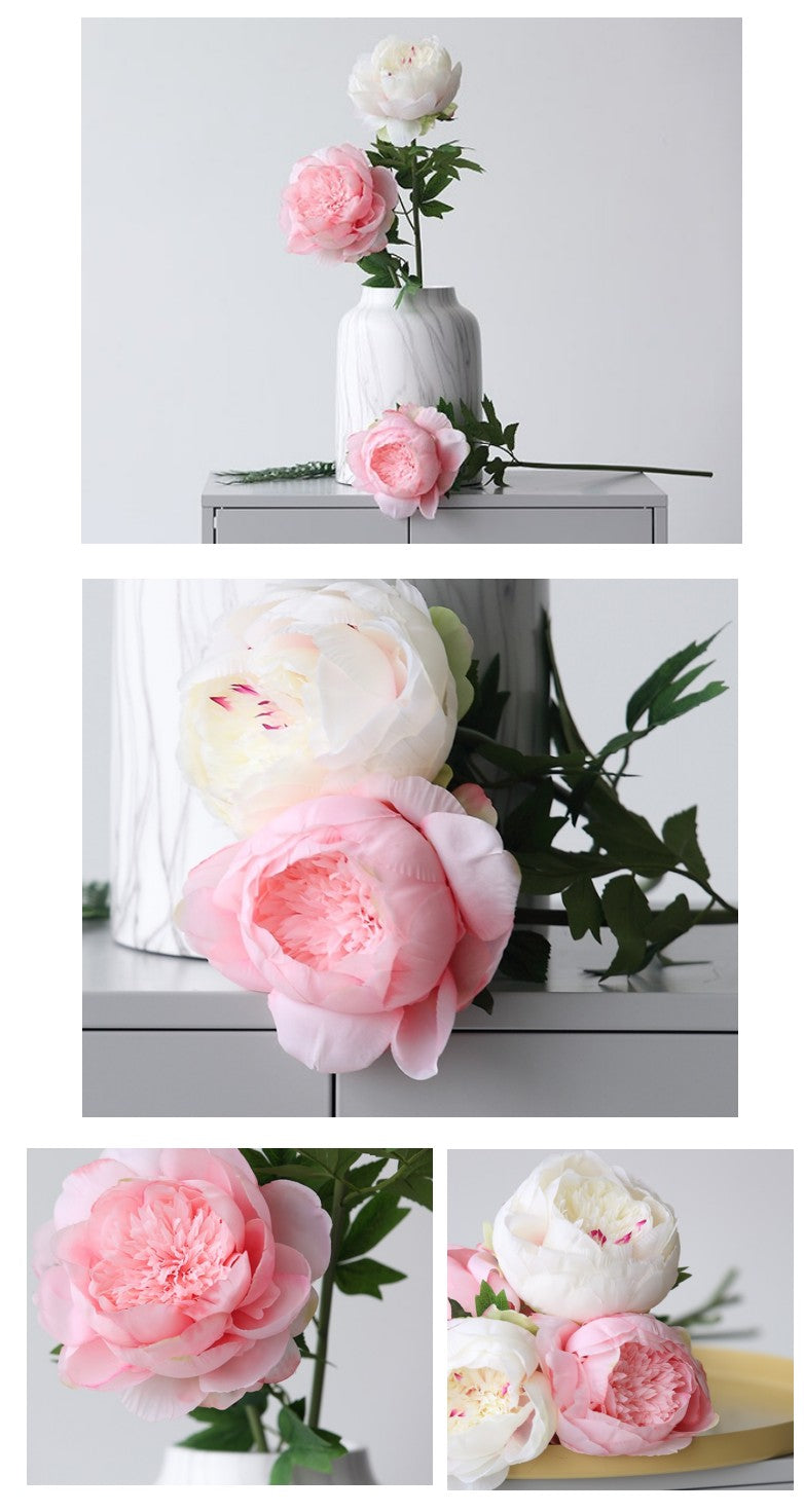 1 Stem Large Peony Flower, Long Stem Flower, Real Touch Rustic Atificial Flowers, Wedding Floral