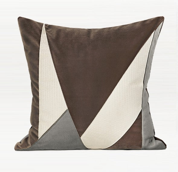 Coffee Grey Irregular Patch Embroidered Square Pillows, Modern Throw Pillow, Sofa Pillows, Couch Pillows