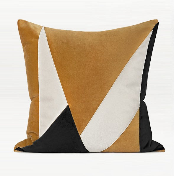 Yellow Black Irregular Taped Embroidered Square Pillows, Modern Throw Pillow, Sofa Pillows, Couch Pillows