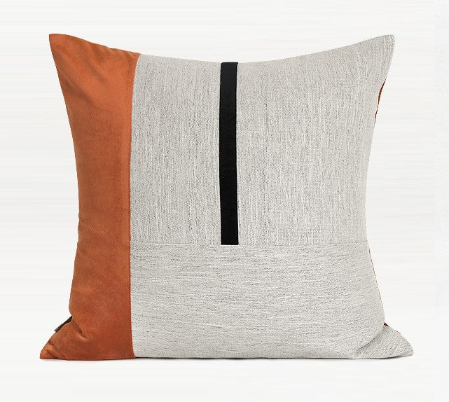 Orange Black Grey Regular Stitching Square Pillows, Modern Throw Pillow, Sofa Pillows, Couch Pillows