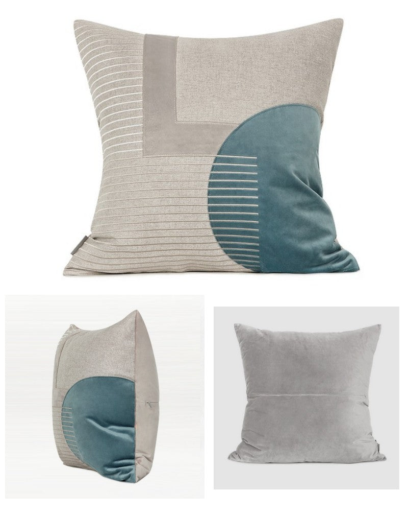 Beige Blue Gray Taped Embroidered Square Pillows, Modern Throw Pillow, Sofa Pillows, Couch Pillows
