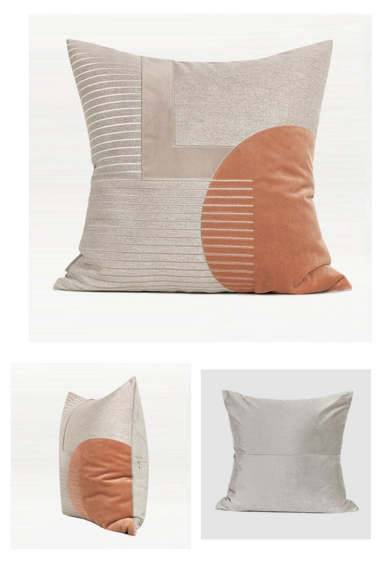 Beige Orange Pink Taped Embroidered Square Pillows, Modern Throw Pillow, Sofa Pillows, Couch Pillows