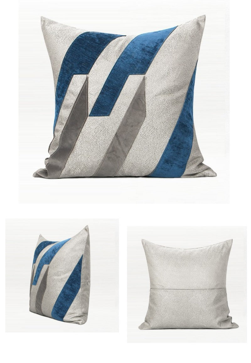 Dark Blue Embroidered Geometric Square Pillows, Modern Throw Pillow, Sofa Pillows, Couch Pillows