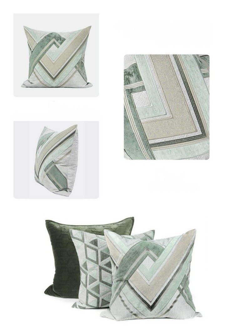 Gray Green Geometric Sticker Embroidered Square Pillows, Modern Throw Pillow, Sofa Pillows, Couch Pillows