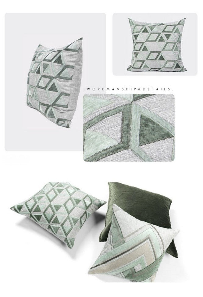 Gray Green Geometric Sticker Embroidered Square Pillows, Sofa Pillows, Couch Pillows, Modern Throw Pillow