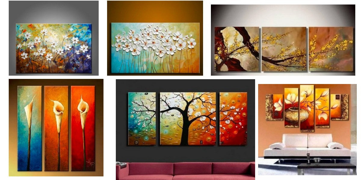 Acrylic Flower Paintings, Abstract Flower Paintings, Easy Flower Paintings, Modern Wall Art Paintings, 3 Piece Wall Art