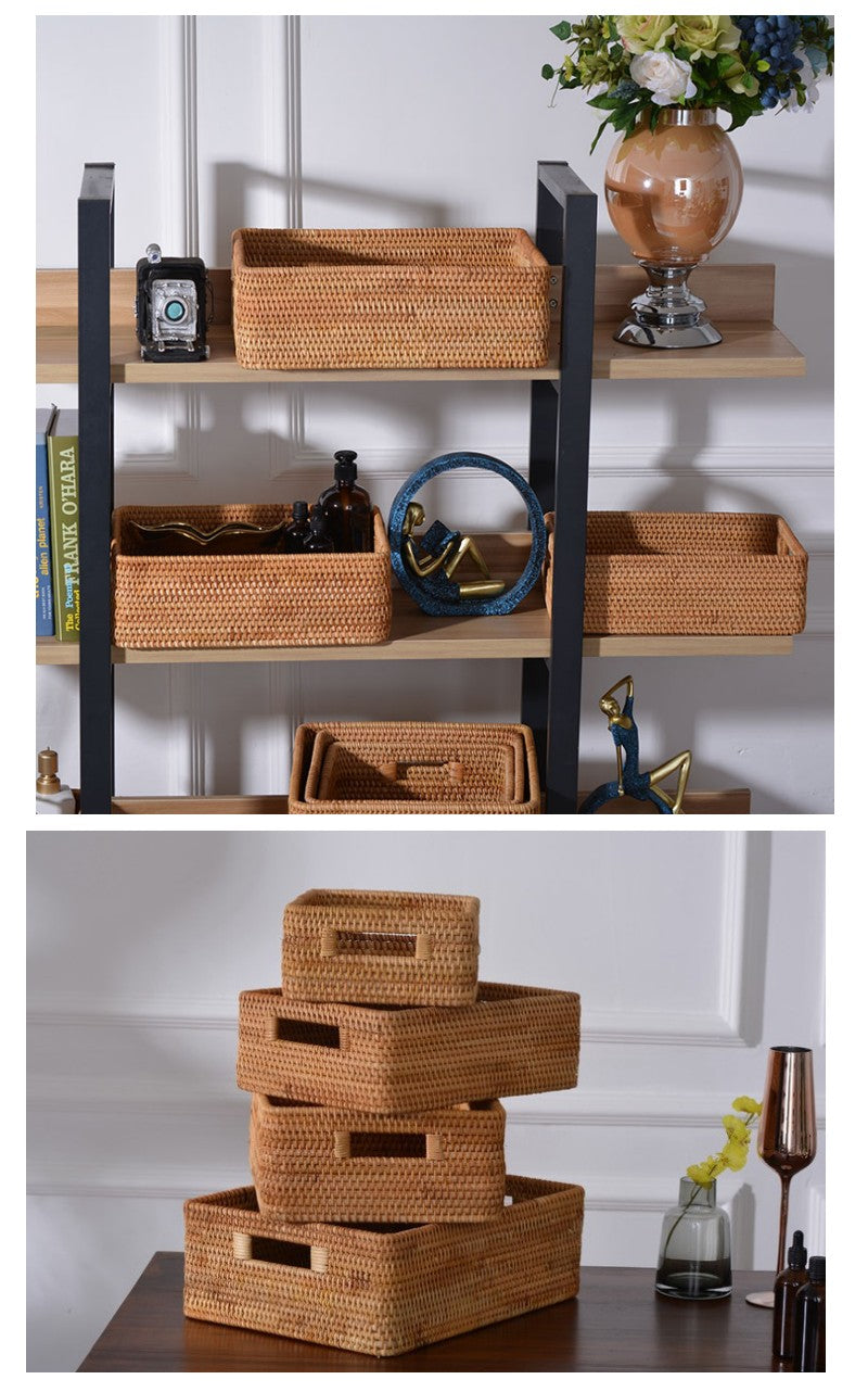 Large Rectangular Basket with Handle, Rattan Storage Basket, Storage Baskets for Kitchen and Bathroom