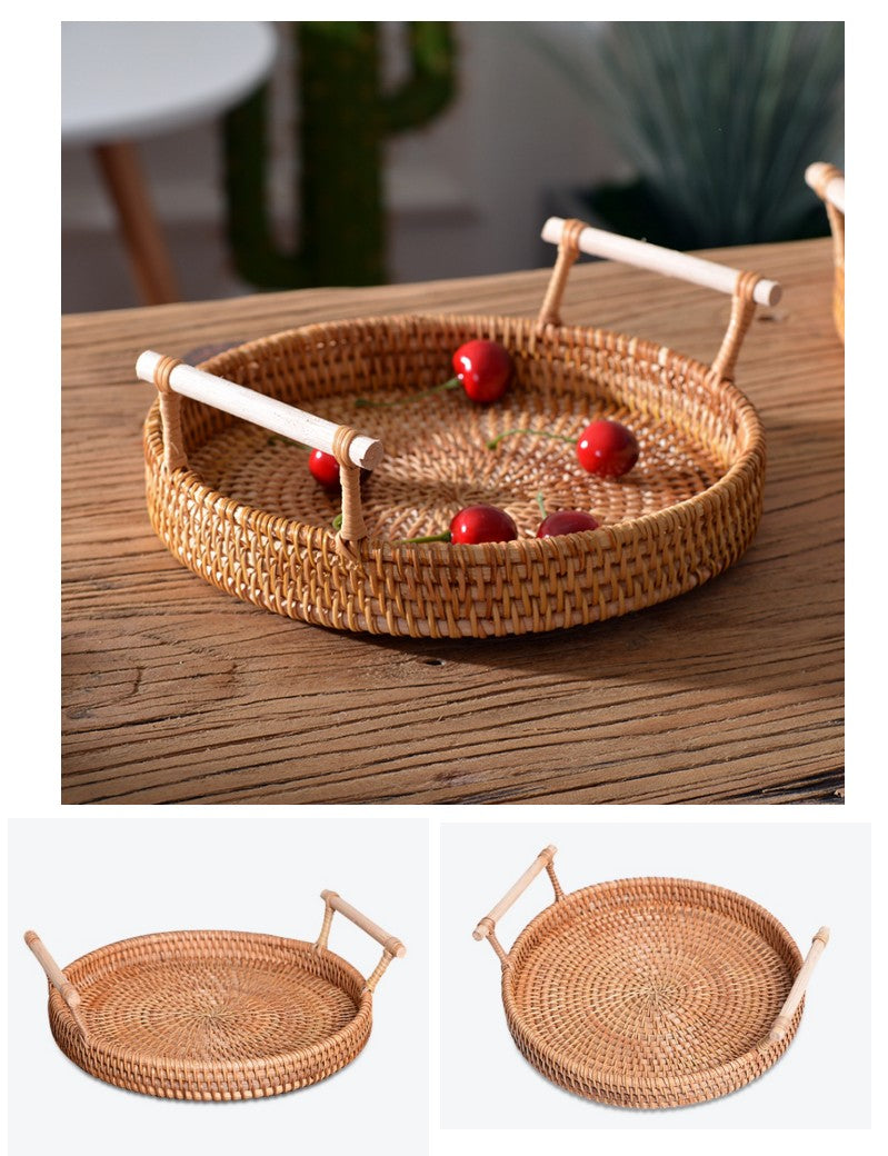 Cute Small Rattan Basket, Fruit Basket, Handmade Round Basket with Handle, Storage Baskets for Kitchen and Bathroom