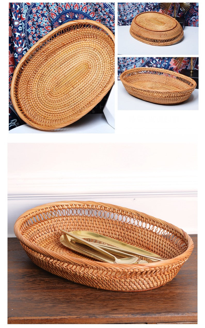 Lovely Rattan Basket, Fruit Basket, Handmade Round Basket, Storage Baskets for Kitchen and Bathroom
