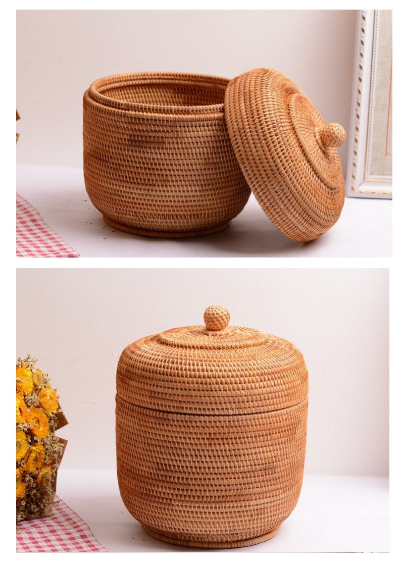 Cute Small Rattan Basket, Handmade Round Basket with Cover, Storage Baskets for Kitchen and Dining Room