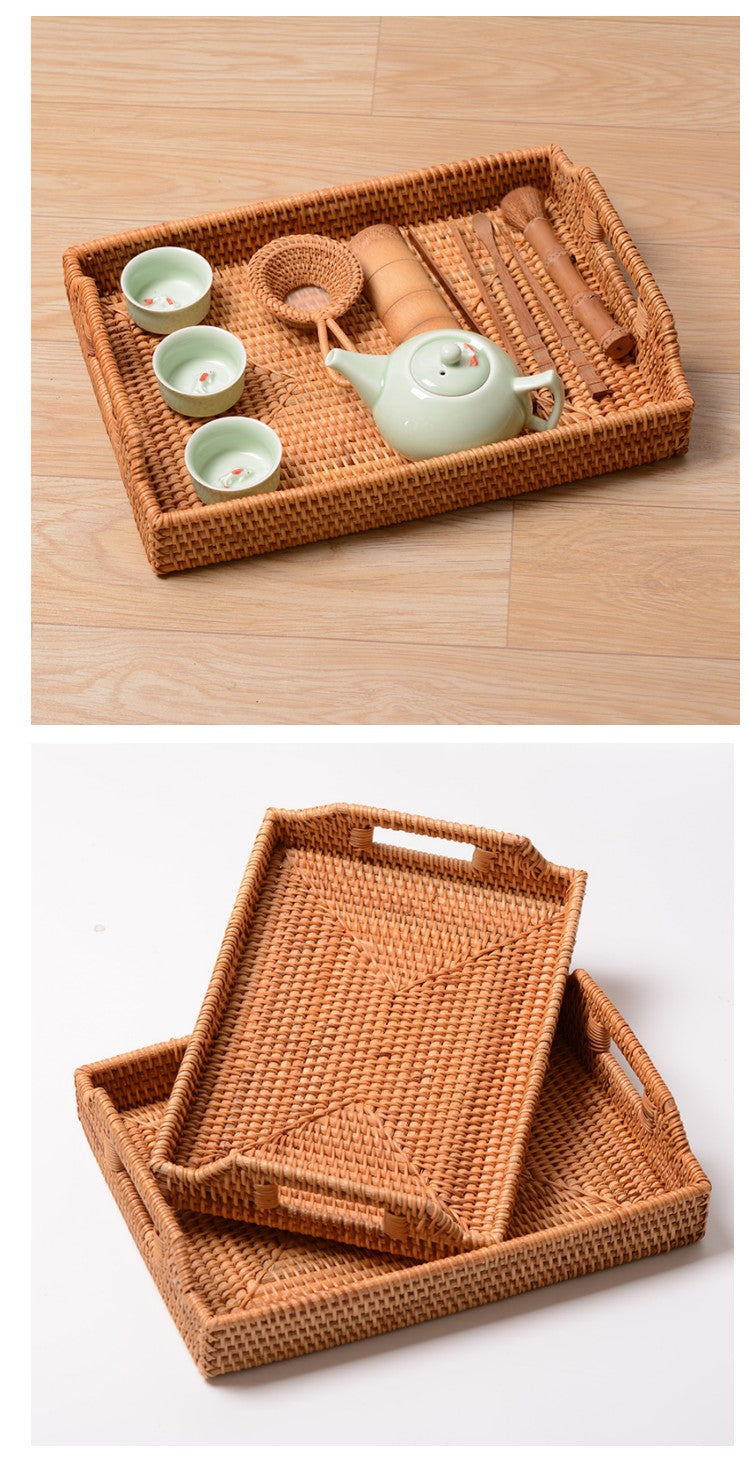 Rattan Bread Plate, Handmade Storage Basket, Fruit Plate for Kitchen and Dining Room