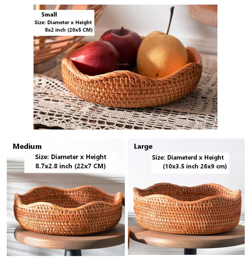 Handmade Round Basket, Lovely Rattan Basket, Fruit Basket, Storage Baskets for Kitchen and Dining Room