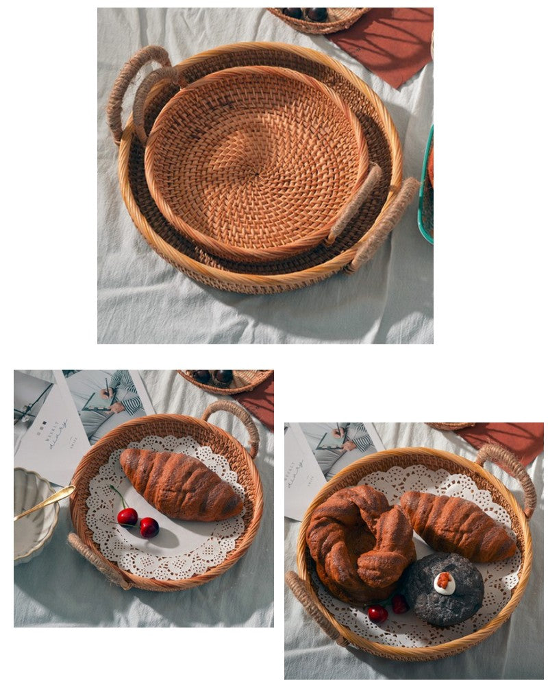 Rattan Storage Basket with Handle, Fruit Basket, Handmade Round Basket, Storage Baskets for Kitchen and Dining Room