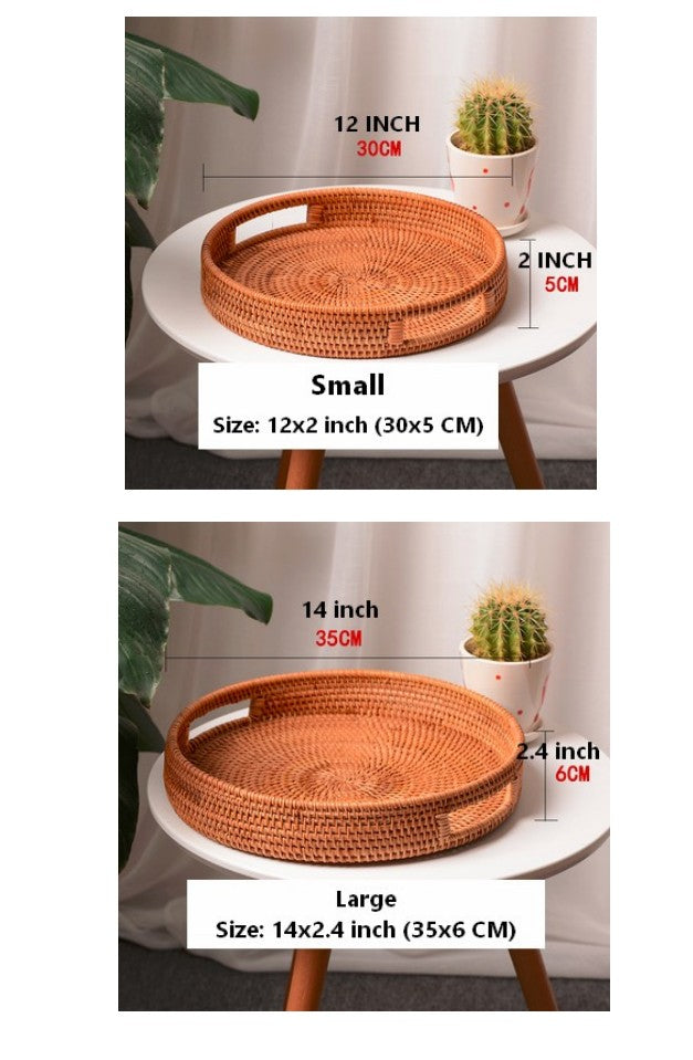 Cute Rattan Basket with Handle, Fruit Basket, Handmade Round Basket with Handle, Storage Baskets for Kitchen and Bathroom