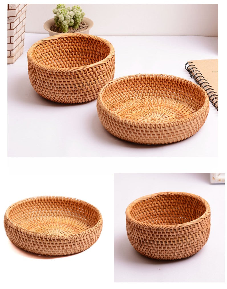 Small Rattan Basket, Fruit Baskets, Handmade Round Basket, Storage Baskets for Kitchen and Dining Room