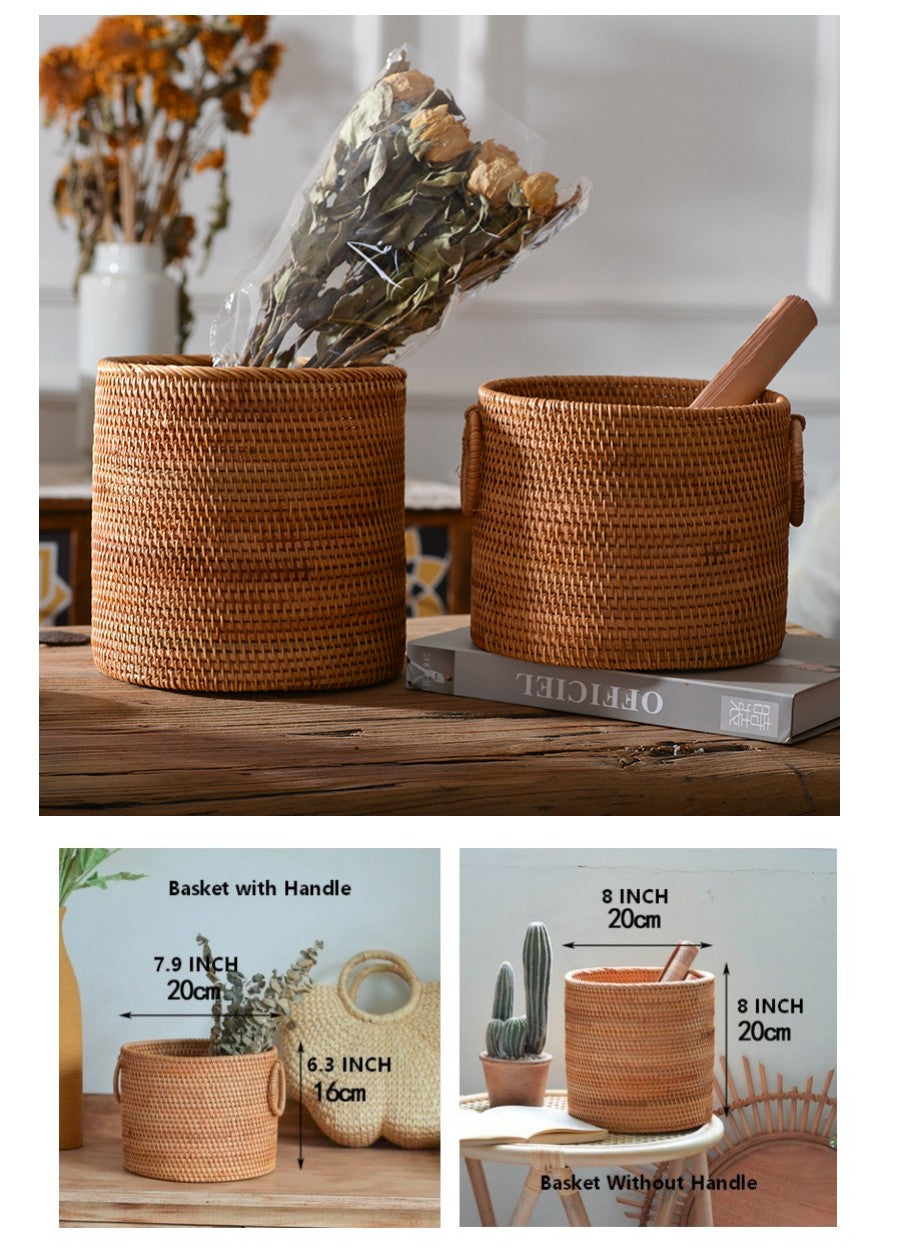 Cute Small Rattan Basket, Handmade Round Basket, Storage Baskets for Kitchen and Dining Room