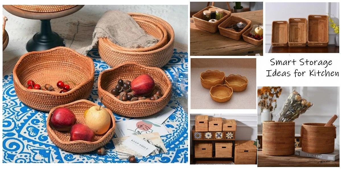 smart storage ideas for kitchen, rectangular storage baskets, pantry storage ideas, rattan baskets