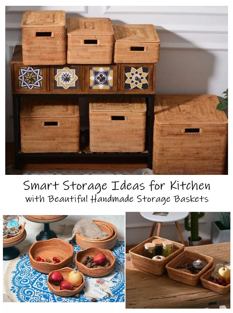 kitchen storage ideas, rectangular storage baskets, storage baskets for kitchen, rattan storage baskets