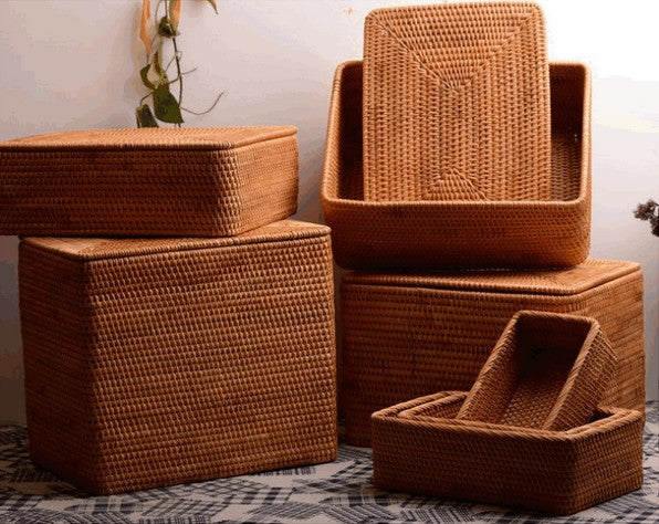 rattan baskets, storage baskets with lip, storage basket for shelves, rectangular storage baskets