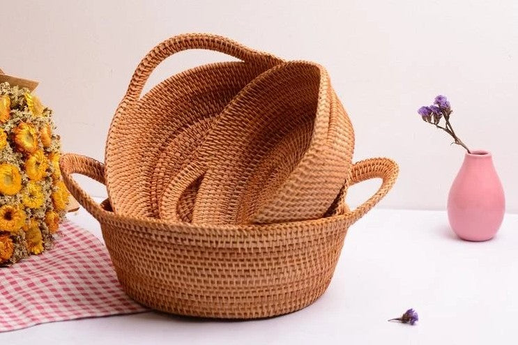 Round Storage Basket, Rattan Basket with Handle, Storage Basket for Kitchen