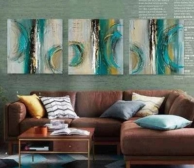 Abstract Art Painting, Large Acrylic Painting, Canvas Wall Art Sets, 3 Piece Canvas Painting, Large Painting
