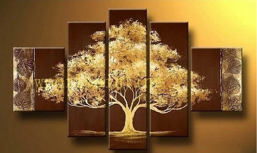 Tree of Life Painting, Heavy Texture Art, 5 Piece Canvas Painting, Wall Art, Large Art, Acrylic Art