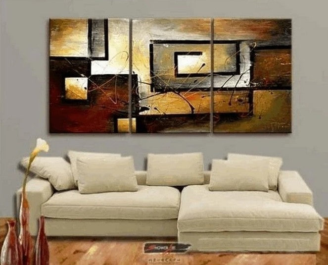 Abstract Painting, Canvas Painting, Living Room Wall Art, Modern Art, 3 Piece Wall Art, Home Art Decor