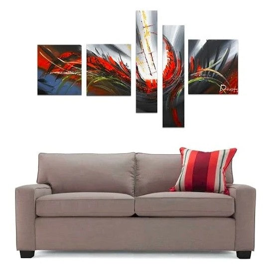 Abstract Lines, Affordable Canvas Painting, Acrylic Art, 5 Piece Wall Painting, Canvas Painting Sets