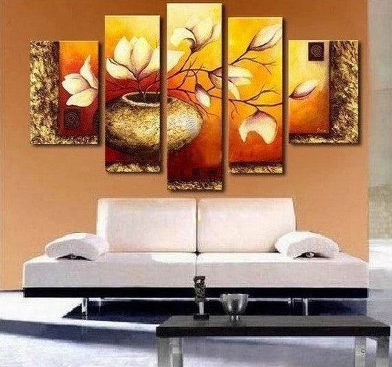 Flower Painting, Heavy Texture Art, Large Canvas Painting, Living Room Wall Painting